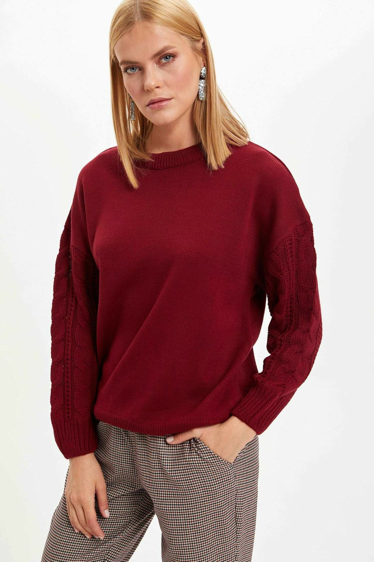 DeFacto Woman Autumn Winter Casual Wine Red Color Pullover Women Long Sleeve Loose Tops Hoodies New Arrival-L3452AZ19WN