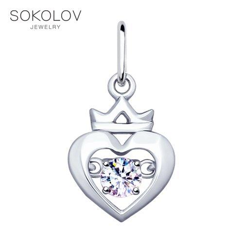 Pendant SOKOLOV Silver With Cubic Zirconia Fashion Jewelry 925 Women's Male, Pendants For Neck Women