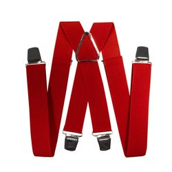 Suspenders for trousers wide (3.5 cm, 4 clips, red) 55130