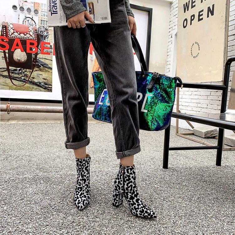 Léopard Zip épais bout pointu talons hauts bottes femme chaussures de neige mode classique Sexy bottine chaussures d'hiver femme dame - 3