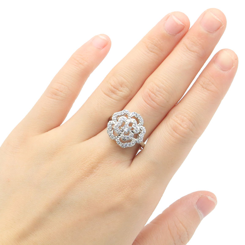 17x17mm Fancy Created White Sapphire Gift For Ladies Weddings Silver Rings
