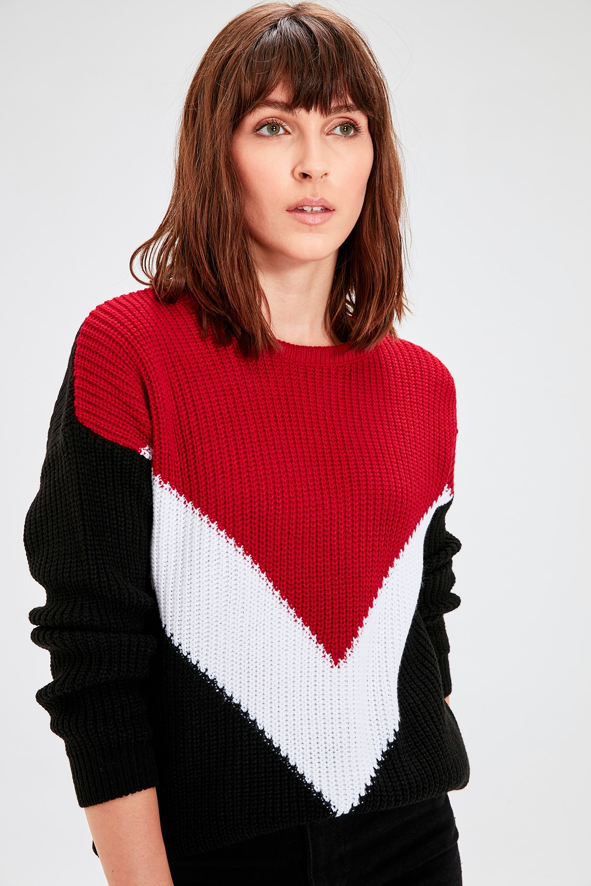 Trendyol Red With Color Block Sweater Pullover TWOAW20KZ0001