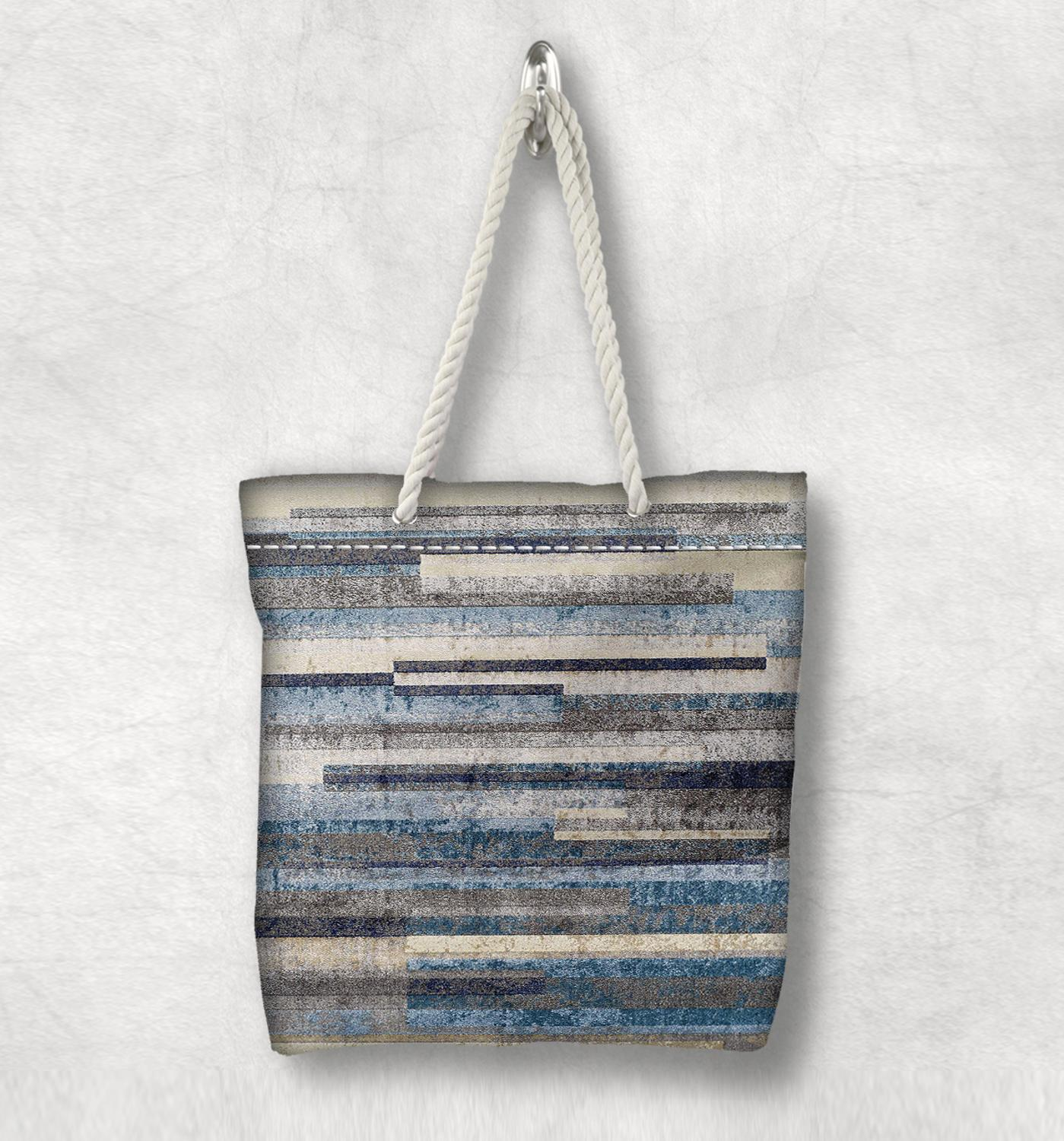 Else Blue Brown Lines Watercolor Anatolia Antique  White Rope Handle Canvas Bag Cotton Canvas Zippered Tote Bag Shoulder Bag