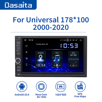 Dasaita Android Universal Car 2 Din Radio 7 IPS Screen 10.0 Stereo Multimedia Navigation for Nissan Built-in DSP