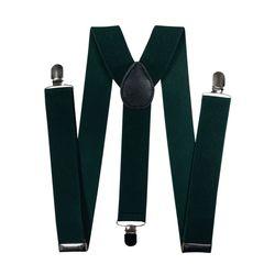 Подтяжки для брюк широкие (3.5 см, 3 клипсы, Зеленый) 54865