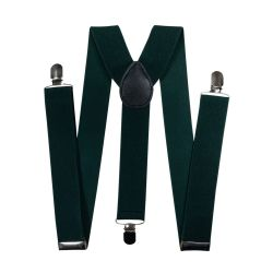 Suspenders for trousers wide (3.5 cm, 3 clips, green) 54865