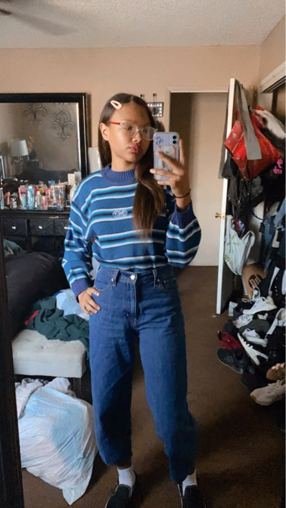 E-girl Striped pullover with loose sleeves photo review