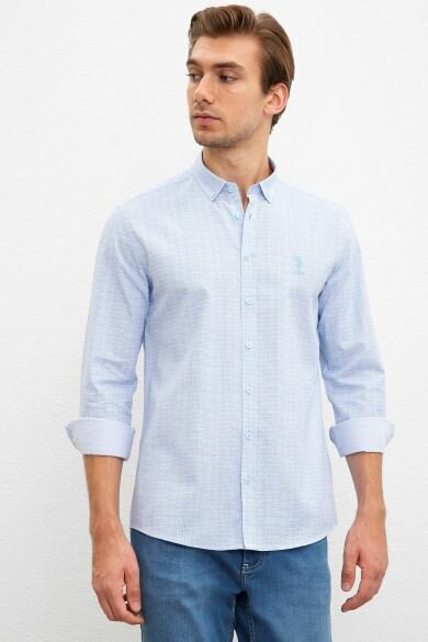 U.S. POLO ASSN. Blue Printed Slim Shirt