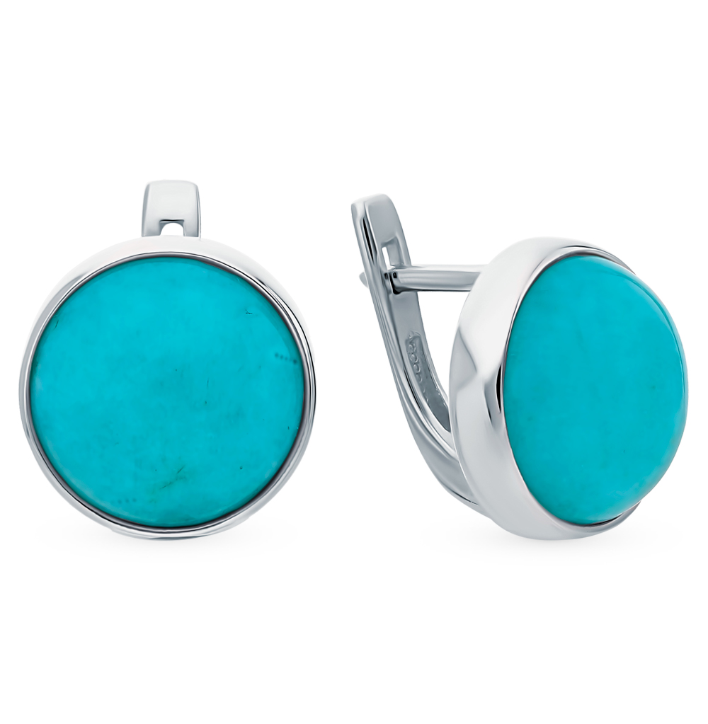 Silver Earrings With Amazonite Sunlight Sample 925