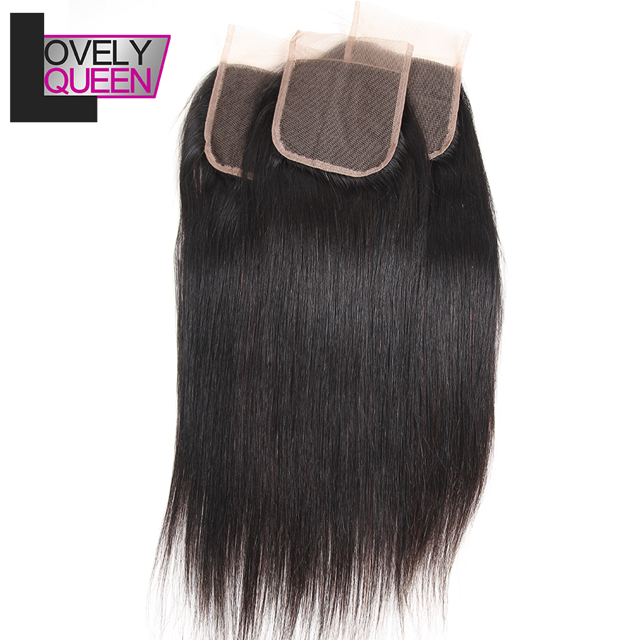 Brazilian Straight Human Hair Lace Closure 4x4  Remy Hair 130% Density Natural Color