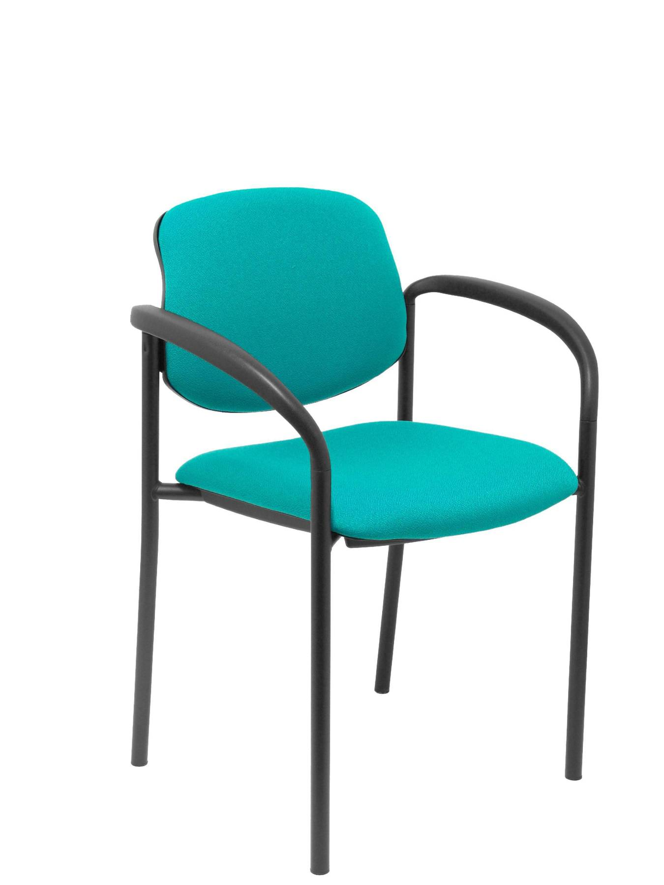 Visitor Chair 4's Topsy, With Arms And Estructrua Negro-up Seat And Backstop Upholstered In BALI Tissue Green Color PIQ