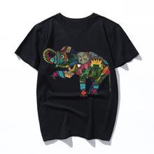 Модная хлопковая Футболка с изображением азиатского слона футболка