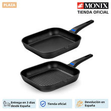 Monix Solid Plus-pan Grill cast aluminum Grill with non-stick Classic. 24 or 28 cm plain or striped. All kitchens