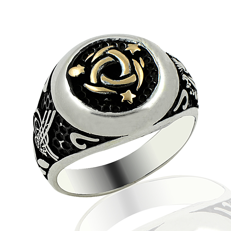 925 Silver Star Printed Casual Ottoman Rings for Men