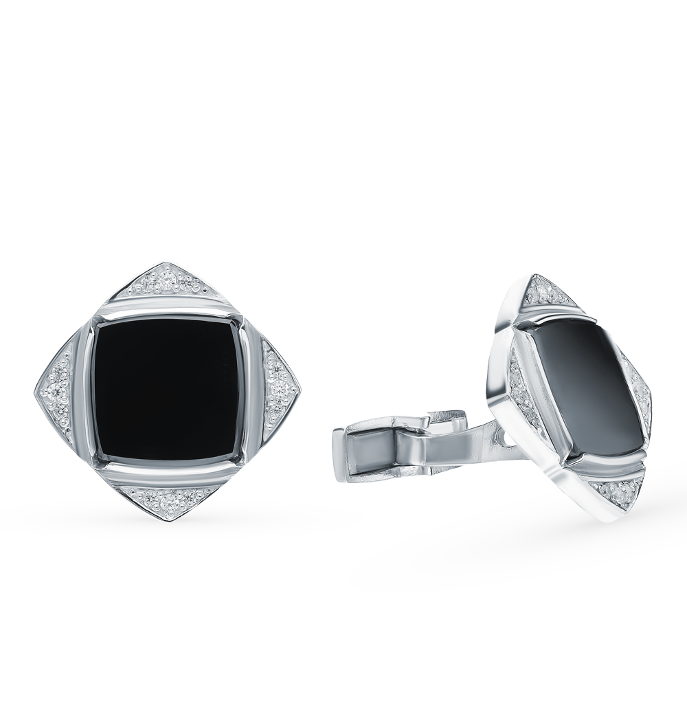 Silver Cufflinks With Cubic Zirconia Sunlight Sample 925