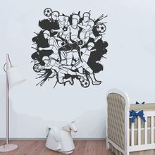 Compiled Soccer Player Wall Sticker Decal Soccer Sports Sticker Home Livingroom Wall Art Decoration A0068420 3d soccer player and goal wall art sticker decal