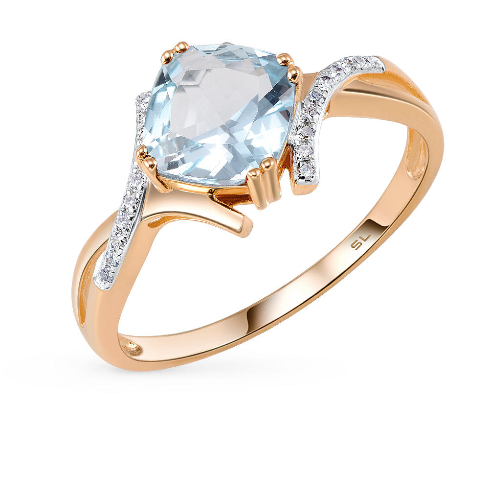 Gold Ring With Topaz And Diamonds SUNLIGHT Test 585