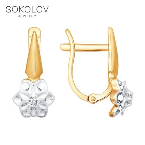 Drop Earrings With Stones With Stones With Stones With Stones With Stones With Stones With Stones With Stones With Stones With Stones SOKOLOV From Combined Gold And Diamonds Fashion Jewelry 585 Women's Male