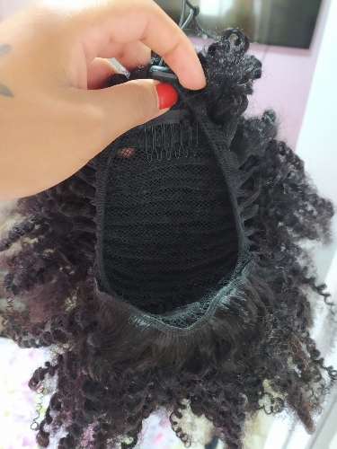 Halo Lady Beauty Drawstring Afro Kinky Curly Ponytail Human Hair Non-Remy Indian Hair Extensions Pony Tail For African American photo review