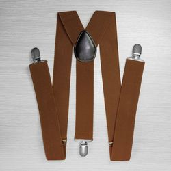 Suspenders for trousers wide (3.5 cm, 3 clips, Brown) 50830