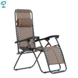 95642 Barneo PFC-16 Brown Folding Liege Garten Deck Stuhl Robust Rohr Stahl Rahmen Strapazierfähig Textoline Stoff Einstellbar