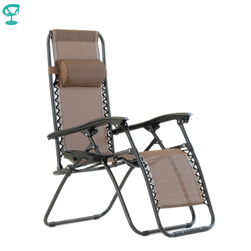 95642 Barneo PFC-16 Brown Folding Reclining Garden Deck Chair Sturdy Tubular Steel Frame HardWearing Textoline Fabric Adjustable