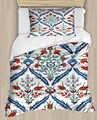 آخر العثماني خمر الأزرق الأحمر الزنبق الزهور 4 قطعة ثلاثية الأبعاد طباعة قطن حرير واحد لحاف لتغطية الفراش مجموعة كيس وسادة غطاء سرير