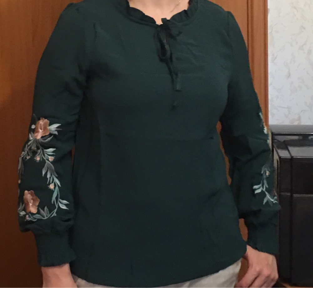 Plus Size Women Tops Floral Embroidery Chiffon Blouse Shirt Fashion Womens Tops And Blouses Long Sleeve Women Shirt photo review
