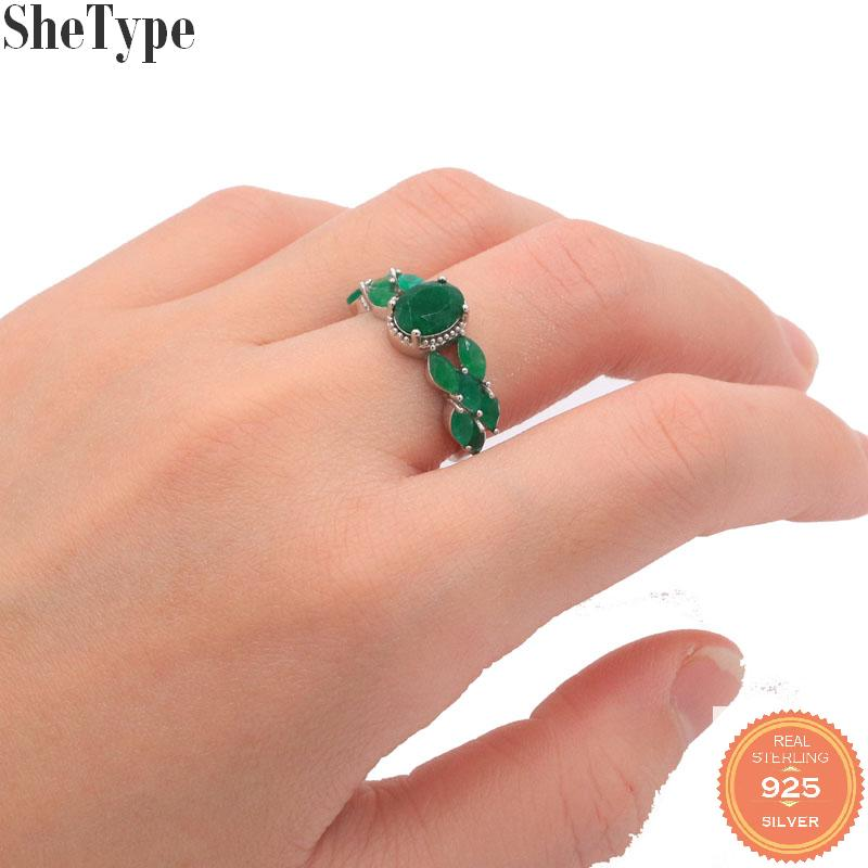 23x9mm Luxury 2.6g Real Green Emerald CZ Gift For Ladies 2019 925 Solid Sterling Silver Rings