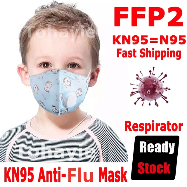 Kids Cartoon FFP3 Mask N95 Mask Dust Mask FFP2 With Respiratory  Valve Anti dust Anti Flu Activated Carbon Adjustable Masks Baby