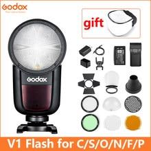 Godox V1 Flash V1S/V1N/V1C TTL Li-Ion cabeza redonda Flash de cámara Flash para/Sony/Nikon/Canon/Fujifilm/Olympus