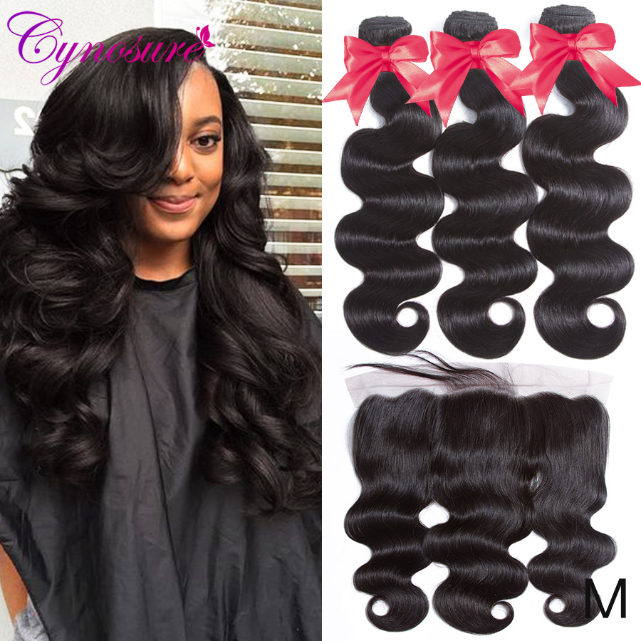 U82378401be694911885f3f2af41c1894M Cynosure Remy Human Hair 3 Bundles Brazilian Body Wave with Frontal Closure 13x4 Ear To Ear Lace Frontal with Bundles