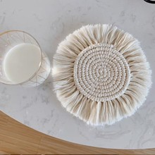 Bohemia Style Cup Pad Table Mat Non-slip Insulation Hand-Woven Cotton Rope Mats For Kitchen Multi-functional