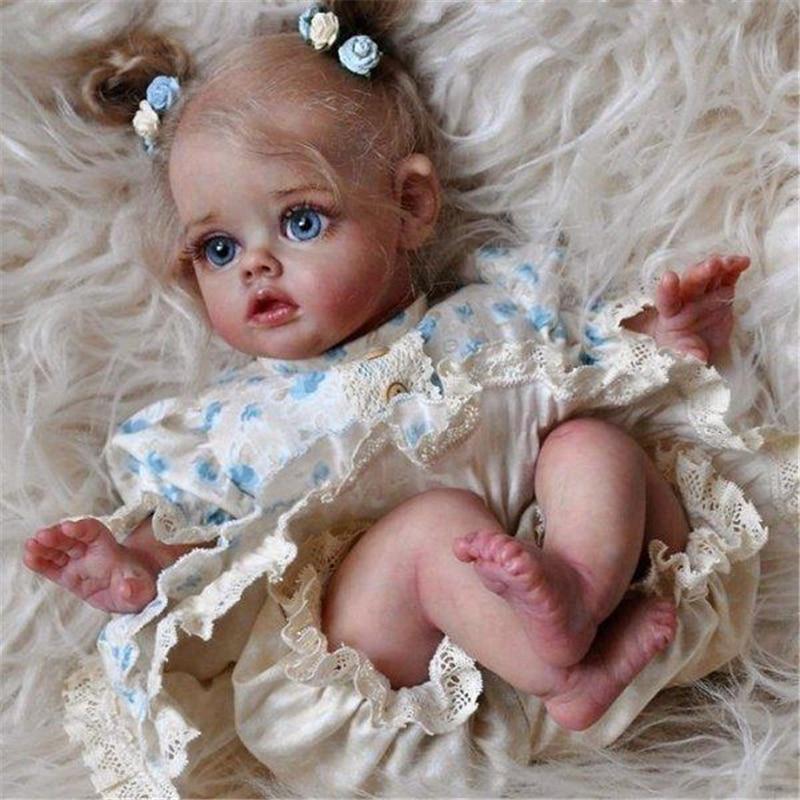 Rsg reborn bebê boneca 12 polegadas lifelike recém nascido flo mini elf vinil unpainted inacabado boneca peças diy kit de boneca em branco