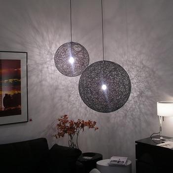 Modern Loft pendant light Bedroom pendant lamp Random Round Ball Pendant Lamp Living Room Hemp ball Bar Hotel lampe Round hemp r