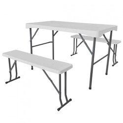Набор складной 113 см стол с 2 банками 95 см для белого кемпинга GH91