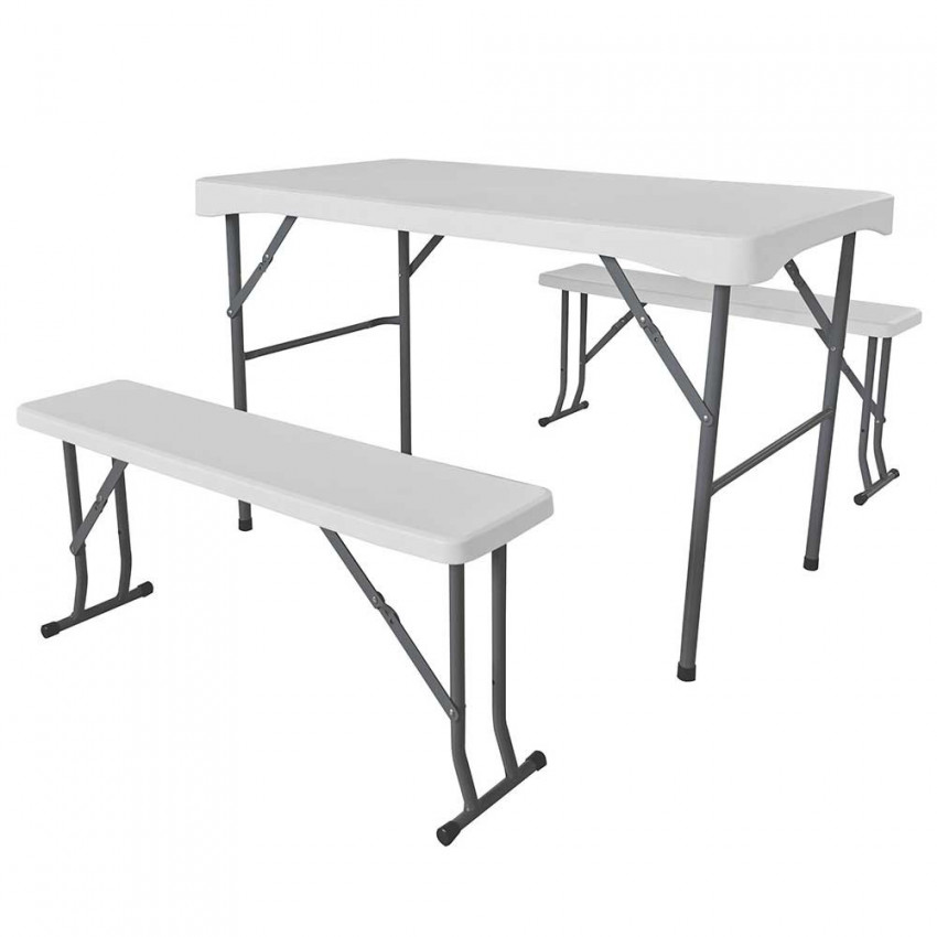 Set Folding 113cm Table With 2 Banks 95cm For White Camping GH91