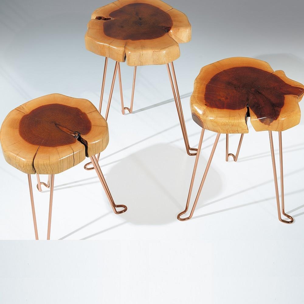 Natural Formed Original Genuine Juniper Wooden Copper Plated Leg COFFEE TABLE Triple SET