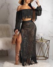цена на 2020 Women Elegant Fashion 2 Piece/Set Sexy Off Shoulder Tassels Crop Top And Long Skirts Set Summer Beach Sexy Crop Top Skirts