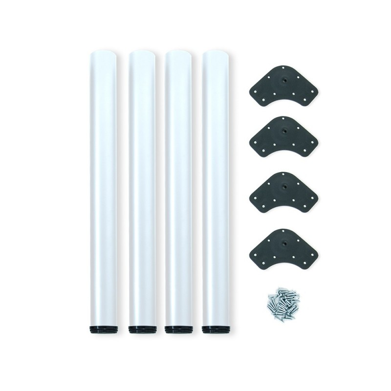 Kit 4 Table Legs Adjustable Emuca D. 60x710mm Steel Painted White