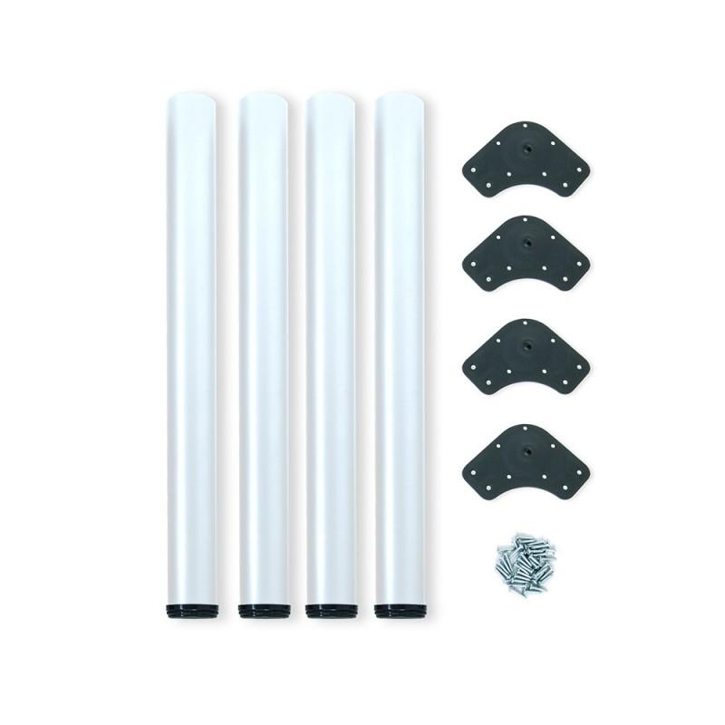 Kit 4 Table Legs Adjustable Emuca D. 60x710mm Steel Painted White