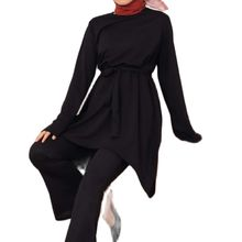2021 Women's Tie-Down Double Suit Black Muslim Dress 2 Piece Daily New Season женское платье Robe Longue Femme Musulmane Turkey