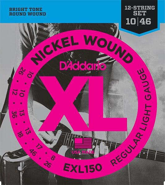 Exl150 Nickel Wound String Kit For 12 String Electric Guitar, Regular Light, 10-46, D'Addario