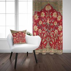Еще красный коричневый зеленый винтажный турецкий цветок аутентичный 3D принт гостиная спальня окно панель занавес комбинированный подаро...