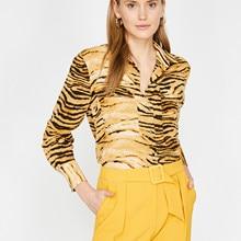 2021 frauen Bluse Hemd Tiger Print Long Sleeve V-ausschnitt Top T Atmungsaktiv Hohe Qualität Büro Dame Business Pубашка Блузки