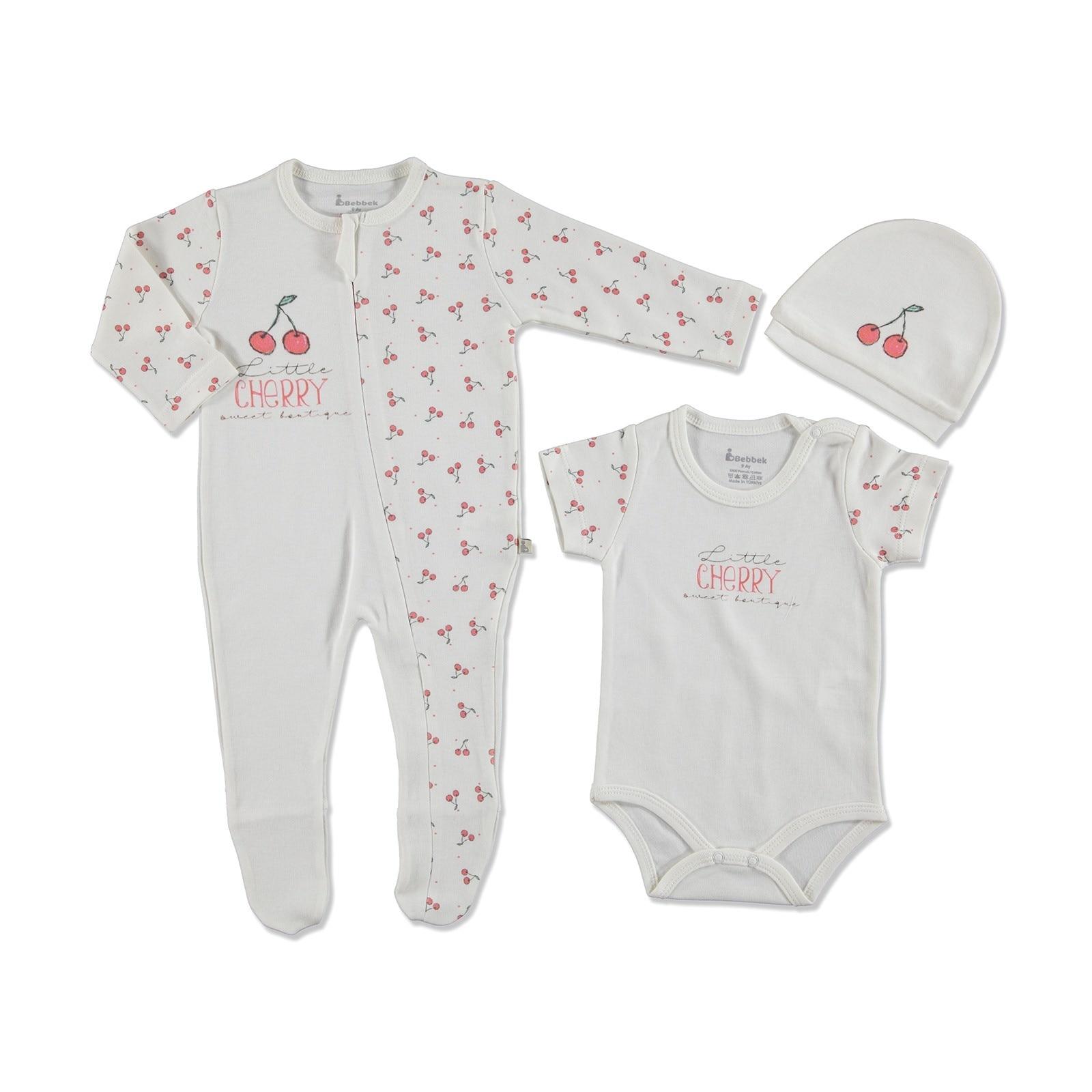 Ebebek Bebbek Summer Baby Girl Cherry Romper Bodysuit Hat 3 Pcs Set