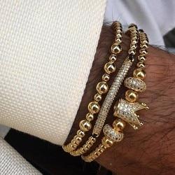 bracelet men/homme/stainless steel/bead/luxury/bracelet male crown cz zircon weaving bracelets men jewelry mens bracelets 2018