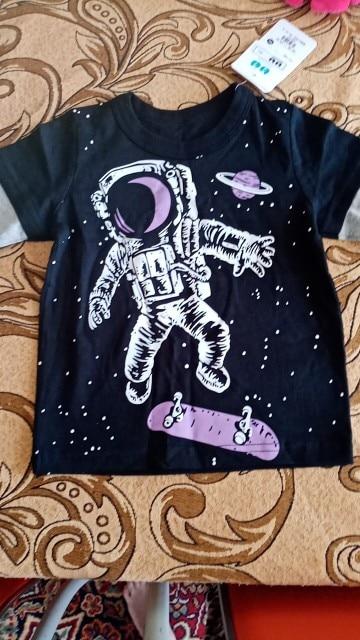 Kids T-shirts 100% Cotton Monster Astronaut Baby Boys Girls Long Sleeve Tops Child Autumn Sweatshirt Boy Girl Clothes photo review