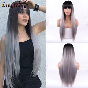 LingHang Long Straight Wig With Bangs Blonde Wigs Synthetic Hair with Wig for Women Black Brown Heat Resistant Wig