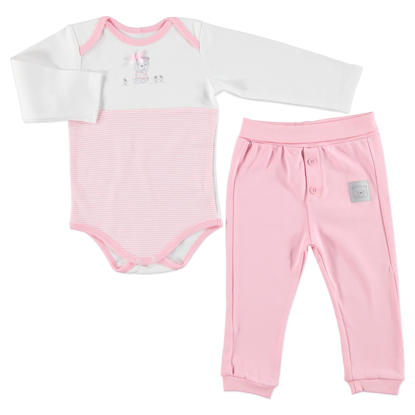 Ebebek Bambaki Cloud Baby Girl Collar Bodysuit Footless Trousers 2 Pcs Set